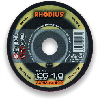 Disque à tronçonner XT 70 Ø 125 x 1.0 RHODIUS