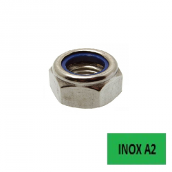Ecrous frein bague nylon Inox A2 Ø 14  BTE 100 (Prix à l'unité)