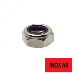 Ecrous frein bague nylon Inox A4 Ø 12 BTE 200 (Prix à l'unité)