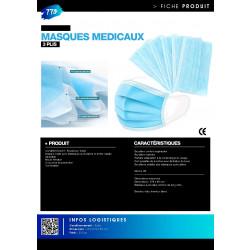 Masque chirurgien bleu 3 plis avec élastiques