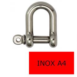 Manille droite axe libre inox A4 5 mm (Prix à la pièce)