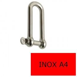 Manille droite longue axe libre inox A4 8 mm (Prix à la pièce)
