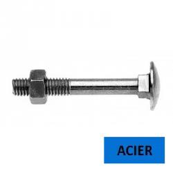 Boulon TRCC DIN 603 acier zingué classe 4.8 filetage partiel 10 x 130 (Prix à l'unité)
